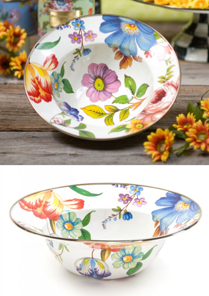 White Flower Market Serving Bowl